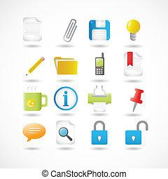 ícones escritório, série, jogo