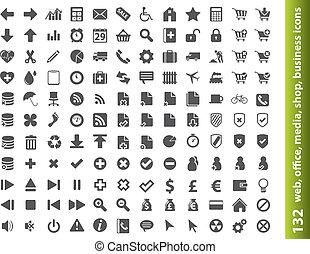 ícones, escritório, teia, 132, buisness, mídia