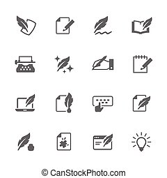 ícones, escrita, simples