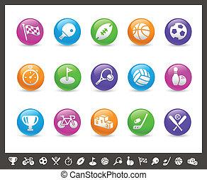ícones esportes, //, arco íris, série