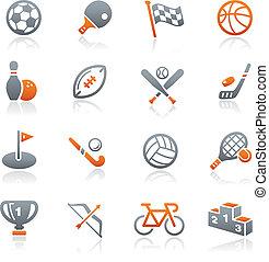 ícones esportes, //, grafita, série