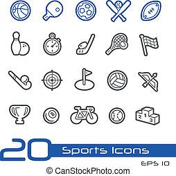 ícones esportes, //, linha, série