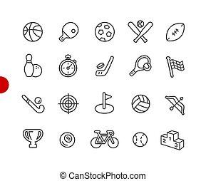 ícones esportes, //, vermelho, ponto, série