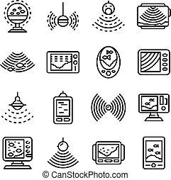 ícones, estilo, esboço, jogo, sounder, eco