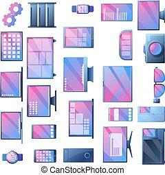 ícones, estilo, jogo, caricatura, sistema, operando