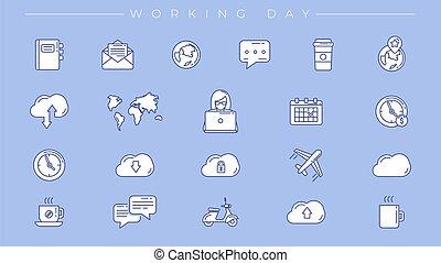 ícones, estilo, linha, dia de trabalho, conceito, vetorial,...