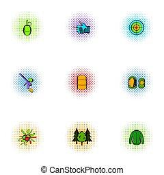 ícones, estilo, pop-art, jogo, paintball