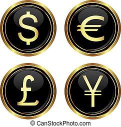 ícones, euro, libra, iene, dólar