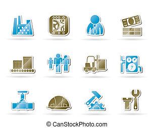 ícones, fábrica, negócio, moinho