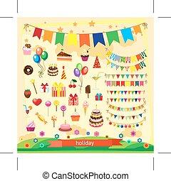 ícones, feriado, ilustração