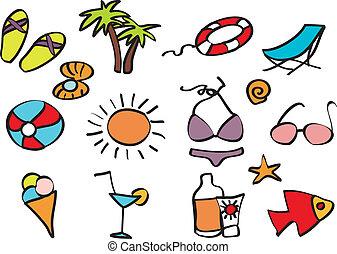 ícones, feriado praia, ligado, um, praia tropical