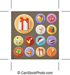 ícones, feriado, presentes