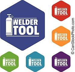 ícones, ferramenta, vetorial, hexahedron, soldador