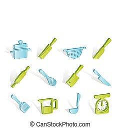 ícones, ferramentas, equipamento, cozinhar