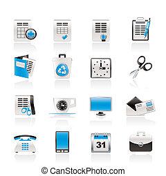 ícones, ferramentas, escritório, negócio