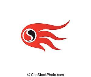ícones, fogo, símbolos, quentes, modelo, logotipo