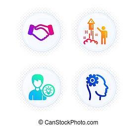ícones, fogos artifício, mão., negócio, idéia, sinal., lâmpada, set., aperto mão, pyrotechnic, pessoa, partido, energia, vetorial, engenharia