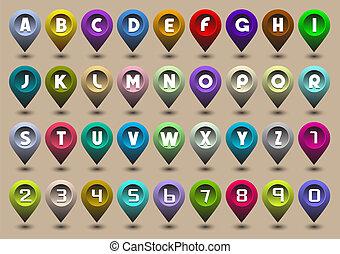 ícones, forma, números, letras, alfabeto, gps