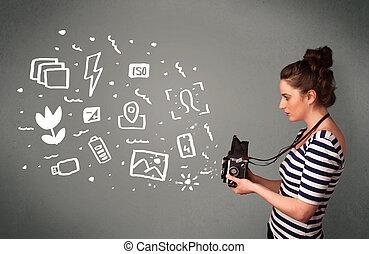 ícones, fotógrafo, fotografia, símbolos, branca, menina, capturando