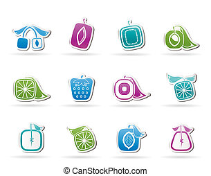 ícones, fruta, abstratos, quadrado