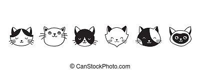 ícones, gatos, cobrança, mão, vetorial, ilustrações, desenhado