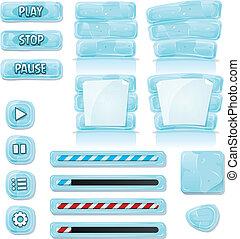 ícones, gelo, vidro, jogo, ui, caricatura
