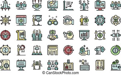 ícones, gerente, jogo, conta, vetorial, apartamento