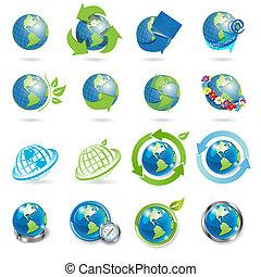 ícones, globo