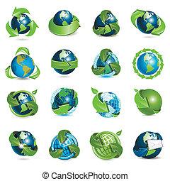 ícones, globo, e, setas