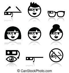 ícones, google, jogo, vetorial, vidro