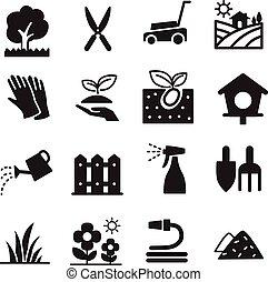 ícones, gramado, silueta