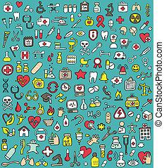 ícones, grande, cobrança, saúde, doodled, medicina