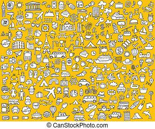ícones, grande, viagem, cobrança, doodled, turismo