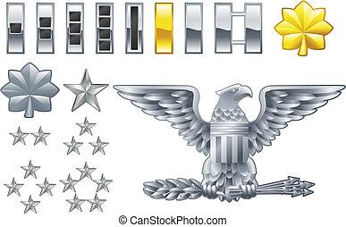 ícones, graus, americano, insignia, oficial, exército