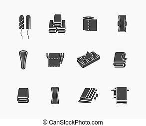 ícones, guardanapos, higiene feminina, vetorial, produtos, toalhas