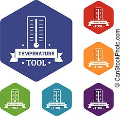 ícones, hexahedron, vetorial, ferramenta, temperatura