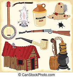 ícones, hillbilly, clipart, elemento