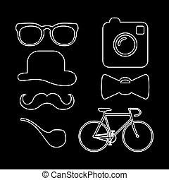 ícones, hipster