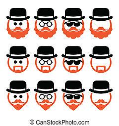 ícones, homem, chapéu, gengibre, barba