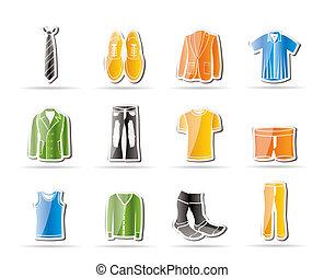 ícones, homem, moda, roupas