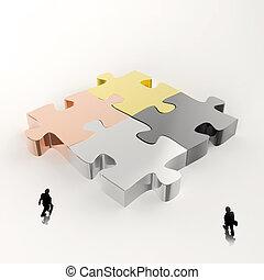 ícones, homem negócios, metal, quebra-cabeça, 3d, conceito, sociedade