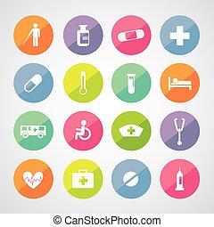 ícones, hospitalar, jogo
