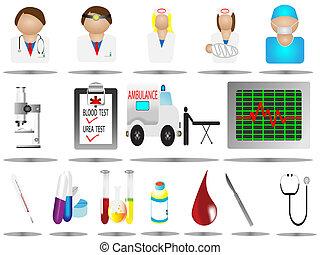 ícones, hospitalar
