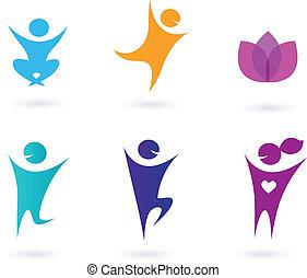 ícones, human, cobrança, ioga