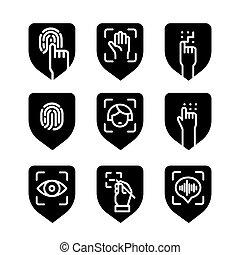 ícones, identificação, biometric