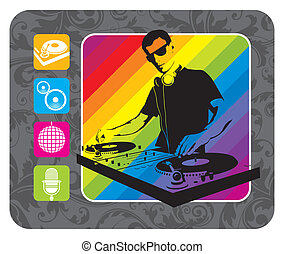 &, ícones, -, ilustração, musical, plataforma giratória,...