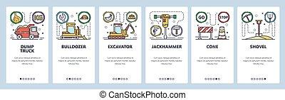ícones, ilustração, screens., entulho, modelo, onboarding, site web, indústria, escavadora, pesado, bandeira, desenho, caminhão, app, máquinas, excavator., construção, vetorial, development., local, móvel, teia