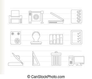ícones, impressão, indústria
