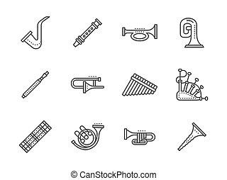 ícones, instrumentos, vetorial, pretas, linha, musical, ...