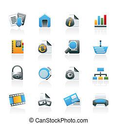 ícones, internet web, local